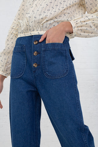Caron Callahan Emily Pant in Blue Denin, Front View Hand in Pocket, Oroboro Store, New York, NY