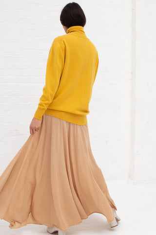 Ryan Roche Stretch Cashmere Skirt with Front and Back Panels in Camel | Oroboro Store | New York, NY