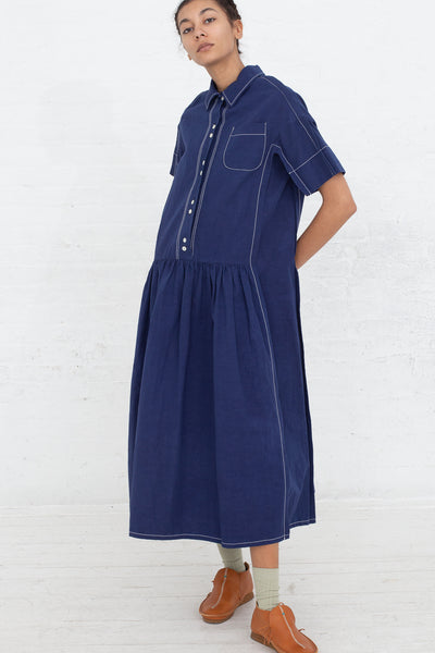 Caron Callahan Trista Dress in Indigo, Front View Full Body, Hand Behind Back