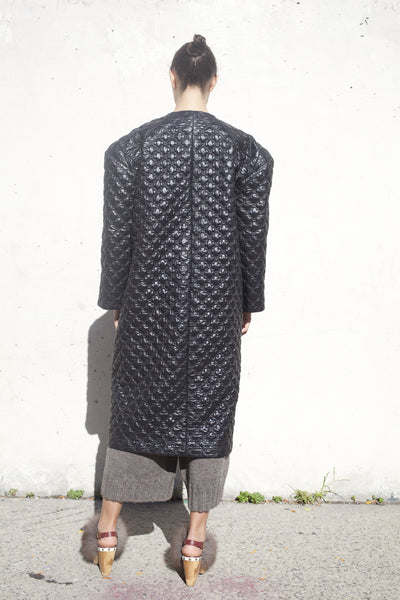 Quilted Catalina Coat in Black