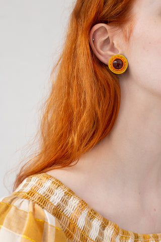 Robin Mollicone Button Earrings in Carnelian with Orange and Gold | Oroboro Store | New York, NY