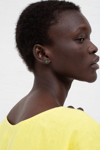 Grainne Morton Stud Earring in Gold Plated Silver and Malachite | Oroboro Store | New York, NY