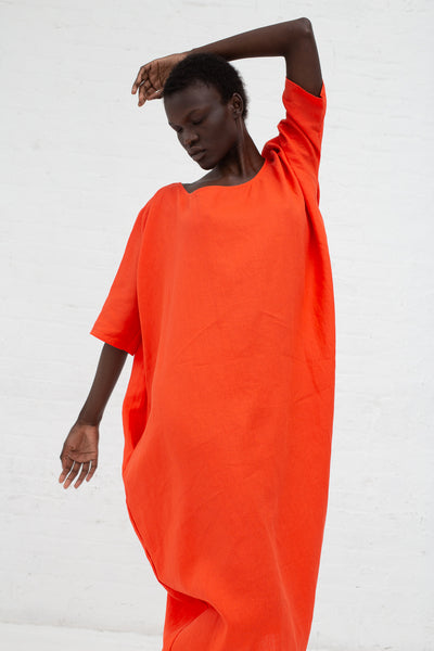Rachel Craven Long Cocoon Dress in Vermillion Red | Oroboro Store | New York, NY
