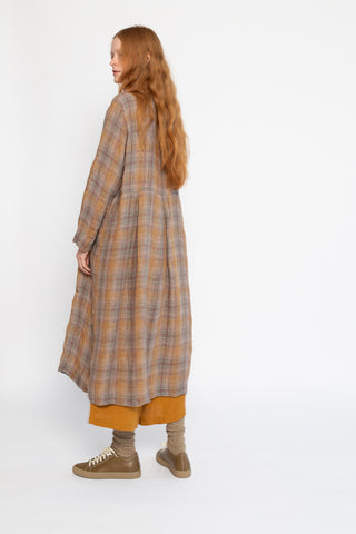 Ichi Antiquites Dress in Brown Rayon and Check Linen | Oroboro Store | New York, NY