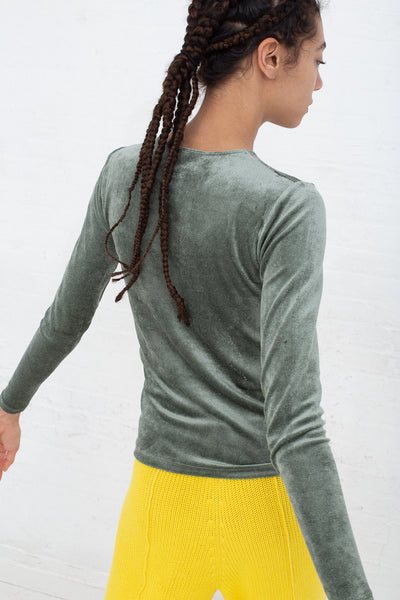 Baserange Omo Long Sleeve Tee in Army back view
