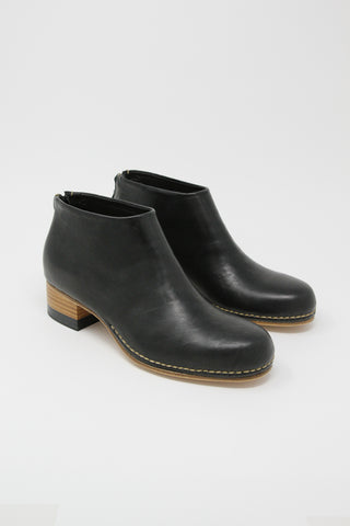FEIT Bi-Color Ceremonial Mid-Heel Boot in Black | Oroboro Store | New York, NY