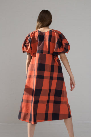 Sofie D'Hoore Dot Dress - Checked Cotton Canvas in Siena Check on model view back