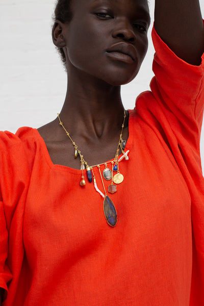 Grainne Morton Wire Charm Drop Necklace with Found Objects, Precious Gems and Gold Plated Silver | Oroboro Store | New York, NY
