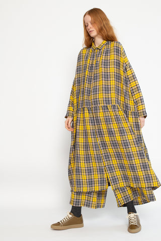 Ichi Antiquites Dress in Yellow Tartan Linen | Oroboro Store | New York, NY
