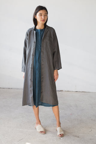 Fog Linen Tove Work Coat in Acier | Oroboro Store | New York, NY