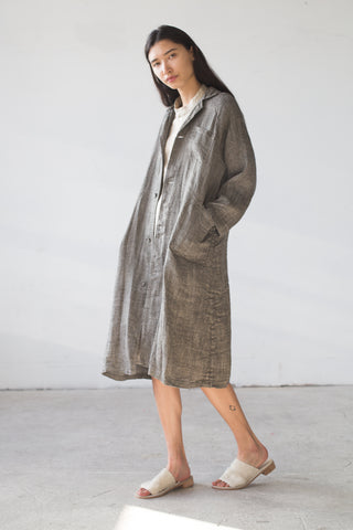 Fog Linen Tove Work Coat in Herringbone | Oroboro Store | New York, NY