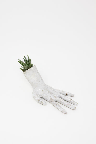 Monty J Ceramic Hand Sculpture in Matte White With Plant in Wrist | Oroboro Store | New York, NY