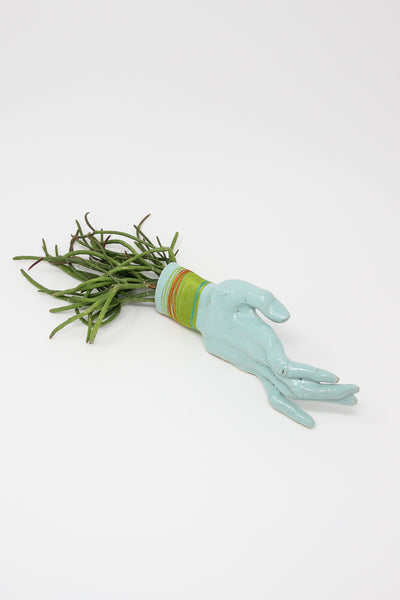 Monty J Ceramic Hand Sculpture With Teal Hand and Lime Thread | Oroboro Store | New York, NY