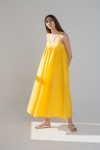 AVN Cotton Blend Tank Dress in Yellow on model view