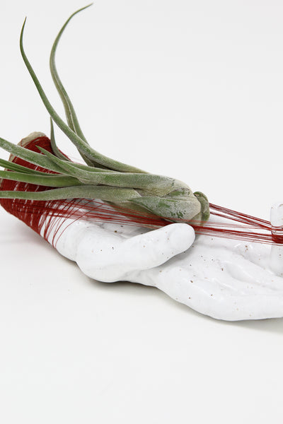 Monty J Ceramic Hand Sculpture in White Glaze and Red Thread | Oroboro Store | New York, NY