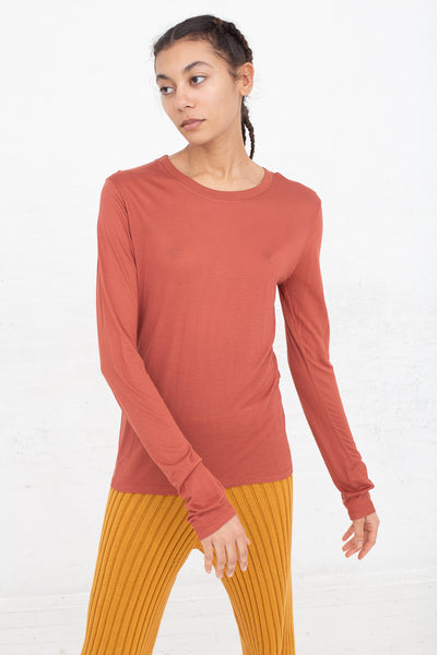 Baserange Long Sleeve Tee in Brick front view