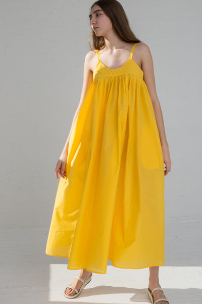AVN Cotton Blend Tank Dress in Yellow on model view front