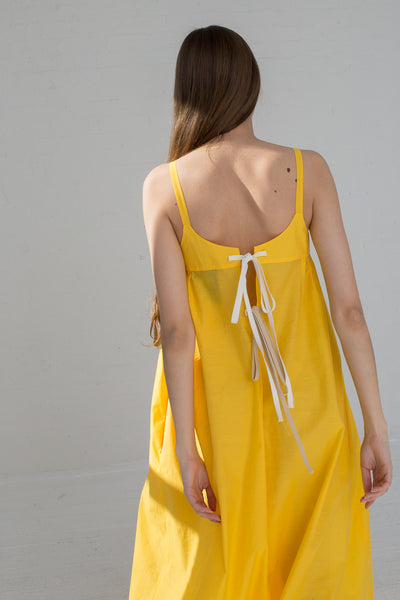 AVN Cotton Blend Tank Dress in Yellow on model view back