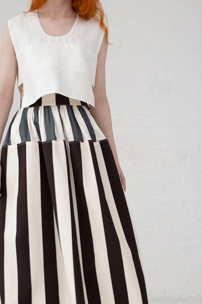 Visvim Elevation Long Skirt Cecile Stripe in Black | Oroboro Store | New York, NY