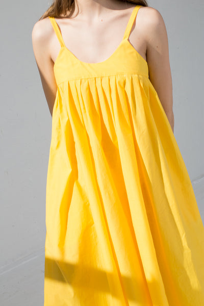 AVN Cotton Blend Tank Dress in Yellow on model view cropped front detail