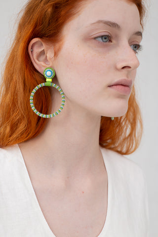 Robin Mollicone Large Beaded Hoop Earring in White Howlite with Lime Stripe | Oroboro Store | New York, NY