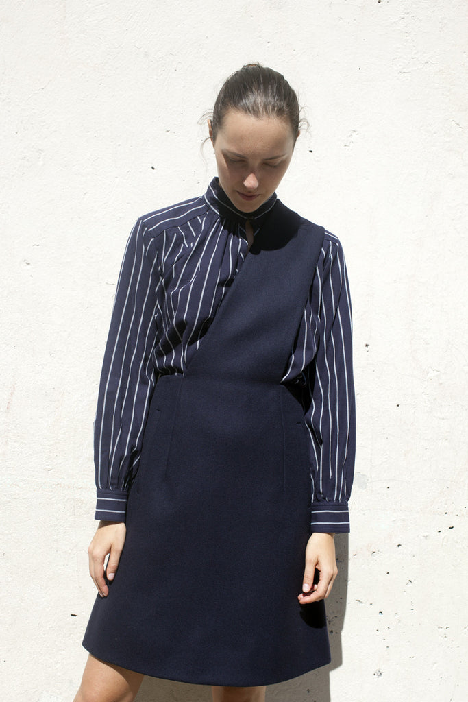 Trademark Wool Apron Dress in Navy | Oroboro Store | Brooklyn, New York