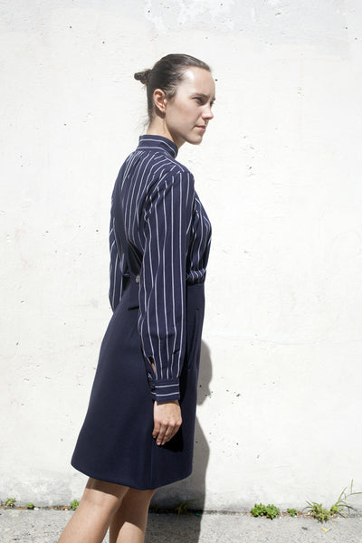 Wool Apron Dress in Navy
