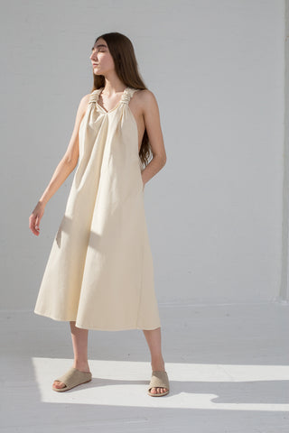 AVN Cotton T- Back Dress in Tan on model view front