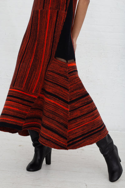 Vesture Felted Knit Maxi Dress in Black/Orange cropped side view