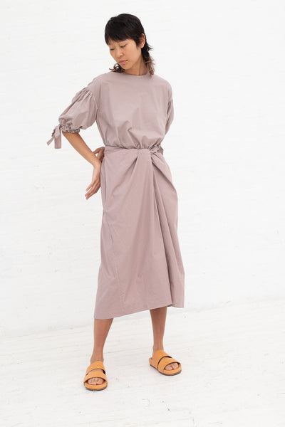 Cosmic Wonder Wrapped Dress with Ribbon Sleeves - Organic Cotton in Amethyst| Oroboro Store | New York, NY