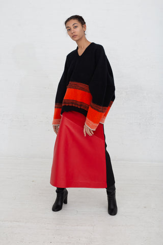 Vesture A Line Leather/Suede Skirt with Contrast Wool in Red full front view