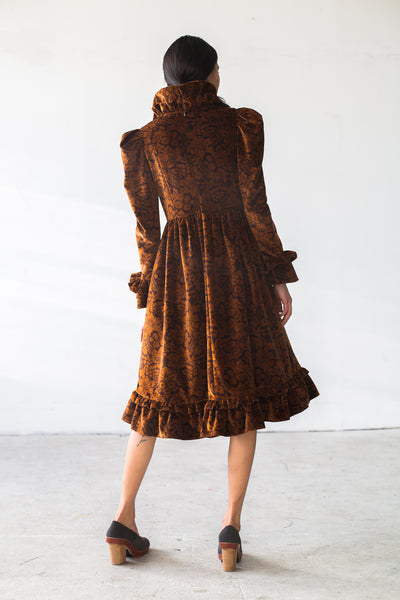 Velvet Dress in Brown Floral