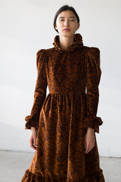 BATSHEVA Velvet Dress in Brown Floral | Oroboro Store | New York, NY