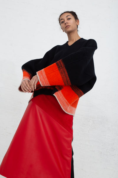 Vesture A Line Leather/Suede Skirt with Contrast Wool in Red cropped front view