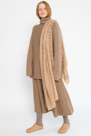 Lauren Manoogian Fringe Scarf in Light Camel | Oroboro Store | New York, NY