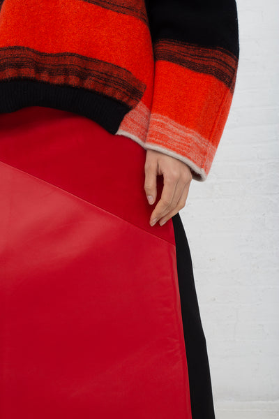 Vesture A Line Leather/Suede Skirt with Contrast Wool in Red cropped detail view