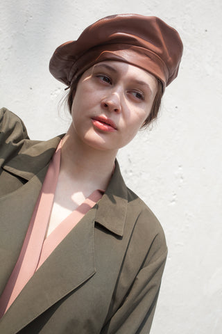 Clyde Lambskin Beret in Fawn | Oroboro Store | New York, NY