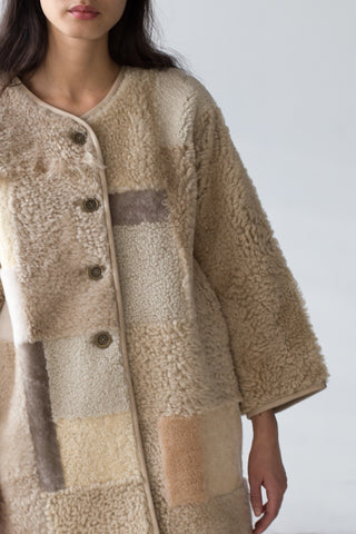 Milena Silvano Patchwork Moon Coat in Pale Naturals | Oroboro Store | New York, NY
