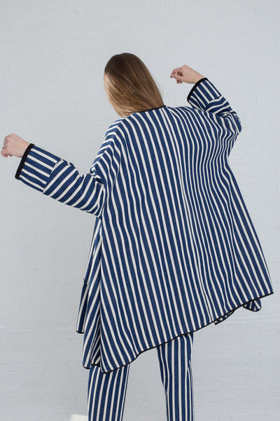 AVN Cotton Jacket in Stripe on model view back