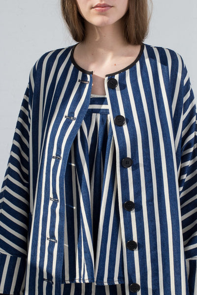 AVN Cotton Jacket in Stripe on model view front