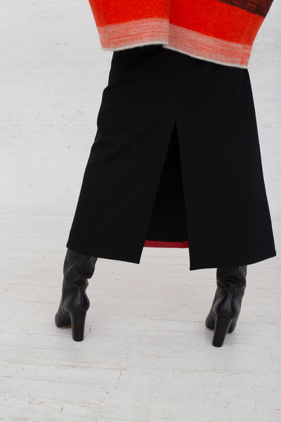 Vesture A Line Leather/Suede Skirt with Contrast Wool in Red cropped back view