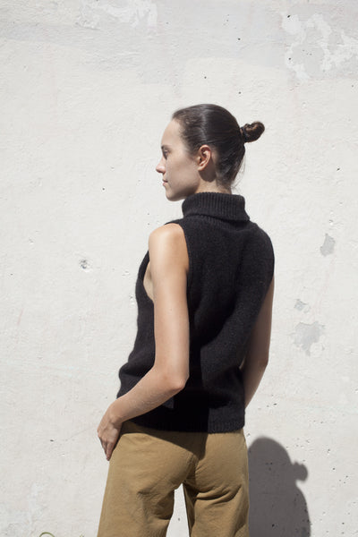 Sahar Turtle Knit in Black Melange