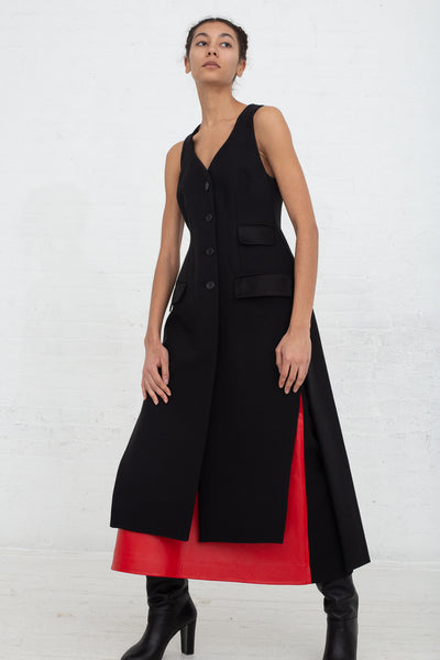 Vesture Tailored Black Long Gilet with Satin Pockets in Black