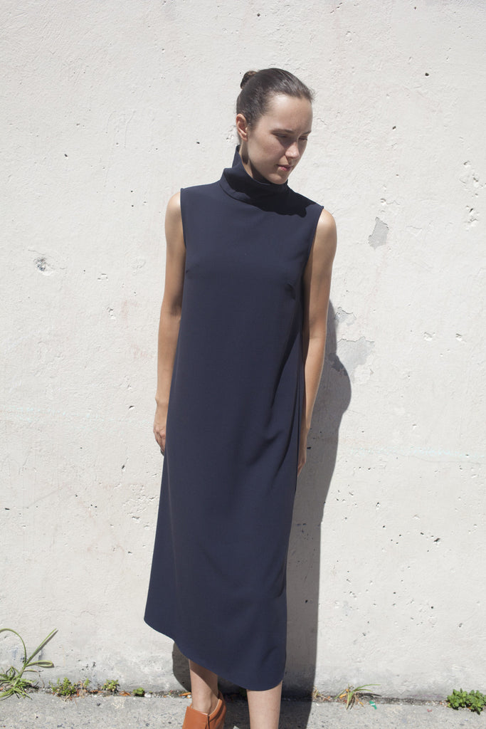 Jesse Kamm Stack Dress in Navy | Oroboro Store | Brooklyn, New York