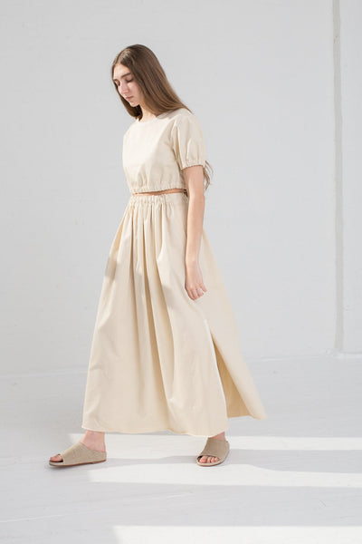 AVN Cotton Skirt in Tan on model view side