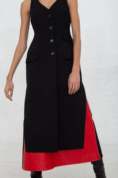 Vesture Tailored Black Long Gilet with Satin Pockets in Black cropped front view