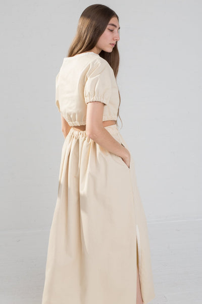 AVN Cotton Skirt in Tan on model view back