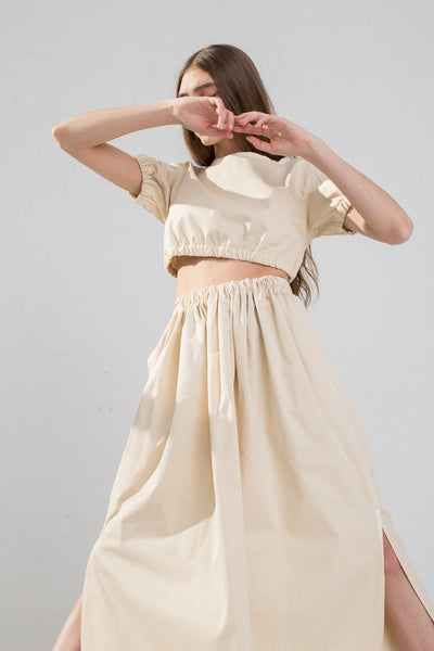 AVN Cotton Skirt in Tan on model view front