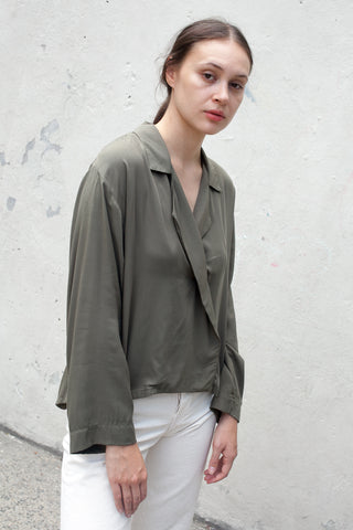 Jesse Kamm The Newton Blouse in Olive | Oroboro Store | New York, NY