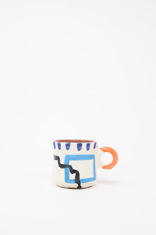LRNCE Ceramic Coffee Cup in Orange Handle, Oroboro Store, New York, NY